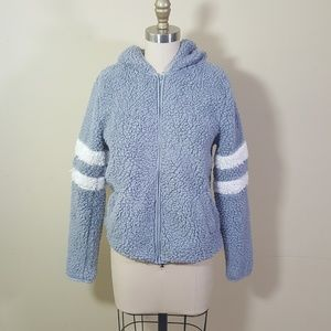 So // Steel Blue-Gray Sherpa Varsity Stripe Hoodie